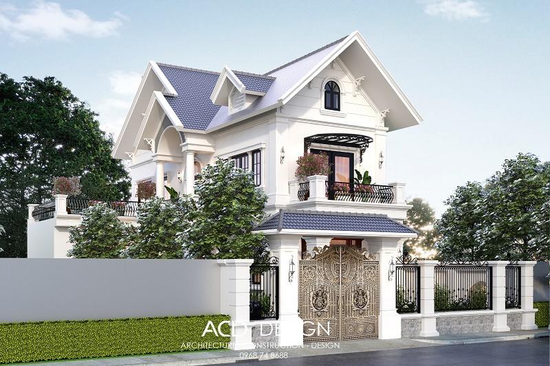 Thiết kế biệt thự 2 tầng mái thái 23x10m kiểu tân cổ điển