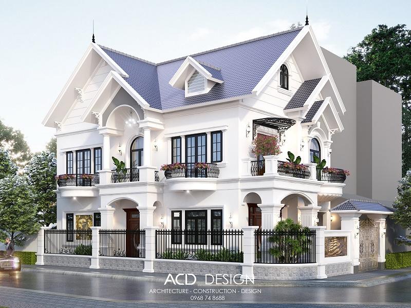 Thiết kế biệt thự mái thái 2 tầng 9x14m kiểu tân cổ điển