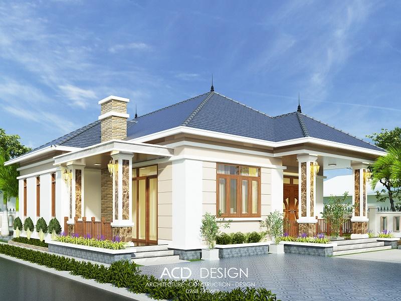 Thiết kế biệt thự nhà vườn 1 tầng 12x15m kiểu mái nhật đẹp