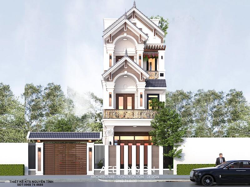 Thiết kế biệt thự phố 3 tầng 6x18m kiến trúc tân cổ điển