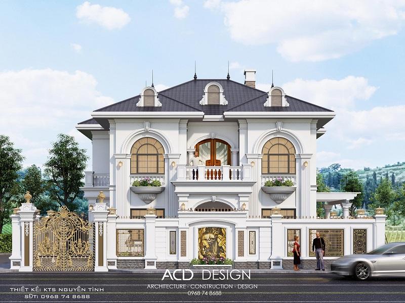 Thiết kế biệt thự 2 tầng 12x15m kiểu kiến trúc tân cổ điển