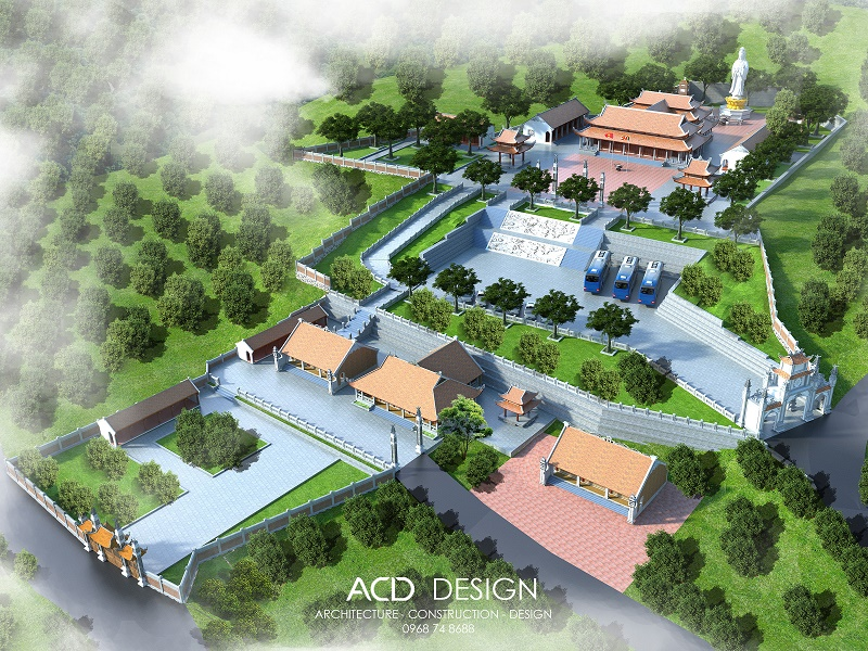Bản thiết kế chùa phong cách kiến trúc đẹp