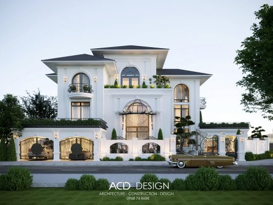 Mẫu thiết kế biệt thự cổ điển Pháp