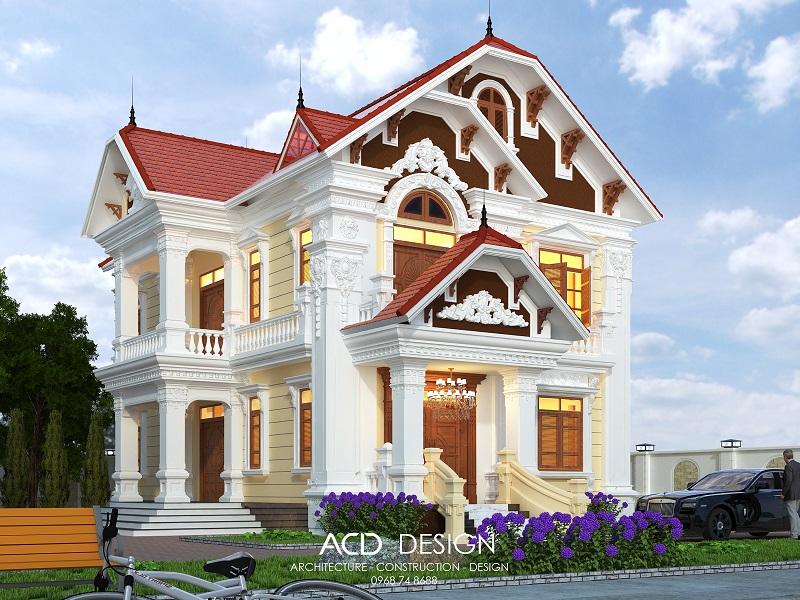 Thiết kế biệt thự 2 tầng mái thái kiến trúc tân cổ điển