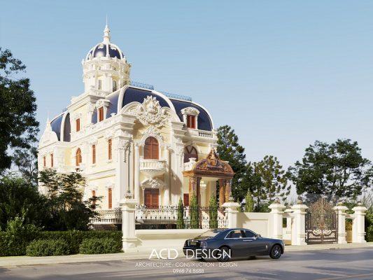 Thiết kế biệt thự cổ điển Pháp 2 tầng