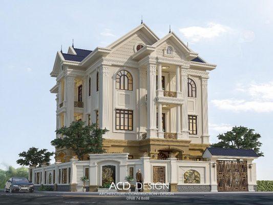 Thiết kế biệt thự tân cổ điển 4 tầng