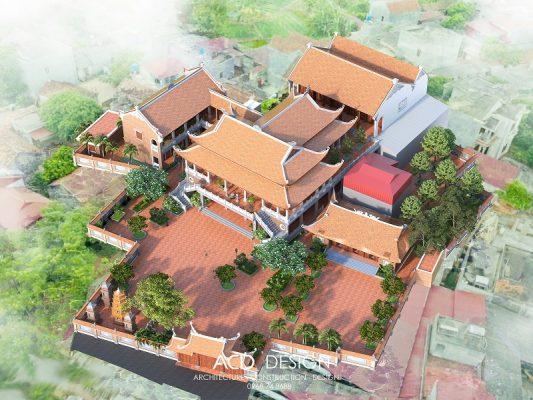 thiết kế chùa 2 tầng