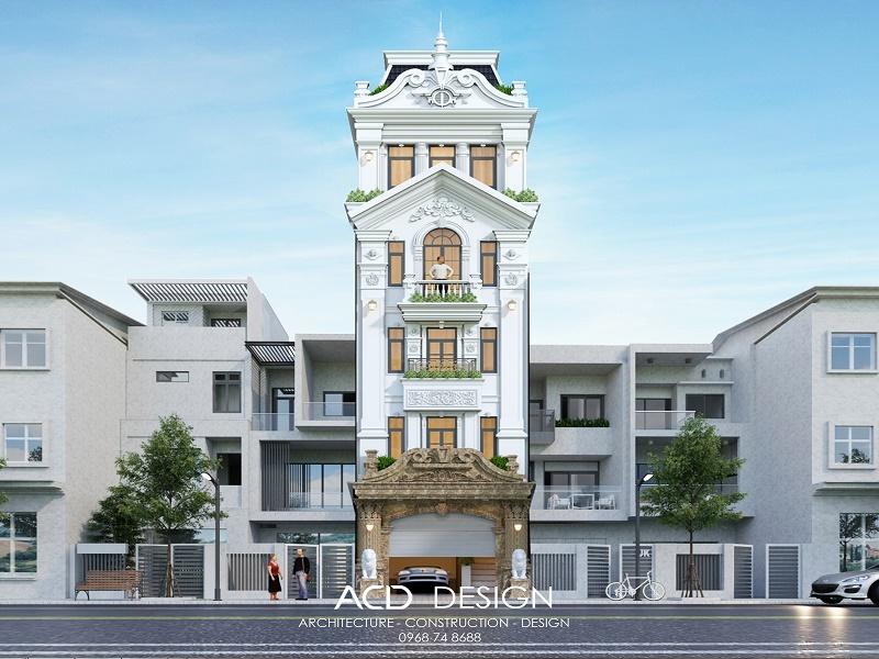 Mẫu thiết kế nhà rộng 5m dài 11m với kiến trúc cổ điển