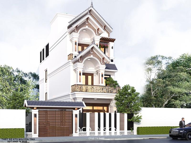 Mẫu thiết kế nhà rộng 5m  dài 16m kiến trúc tân cổ điển