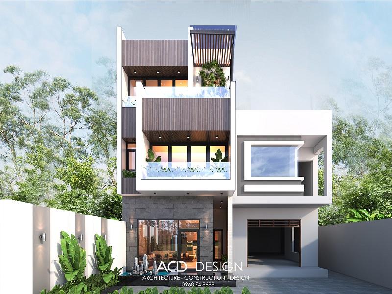 Mẫu thiết kế nhà rộng 5m dài 18m kiến trúc hiện đại