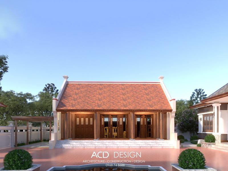 Mẫu nhà thờ họ 3 gian phong cách kiến trúc đẹp