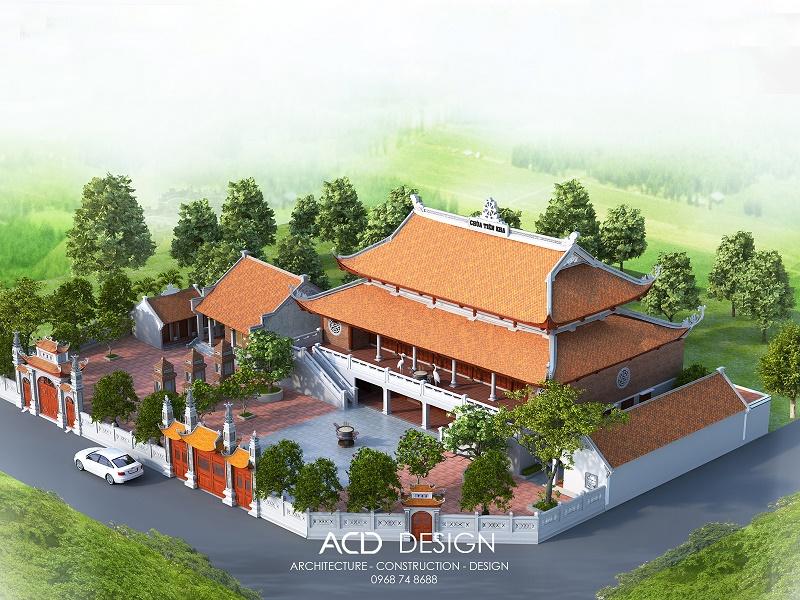 Thiết kế chùa 2 tầng đẹp nhận được nhiều lựa chọn