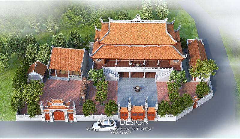thiết kế chùa 2 tầng đẹp