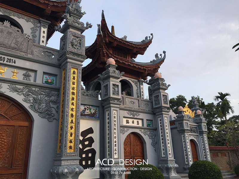 thi công cổng tam quan chùa
