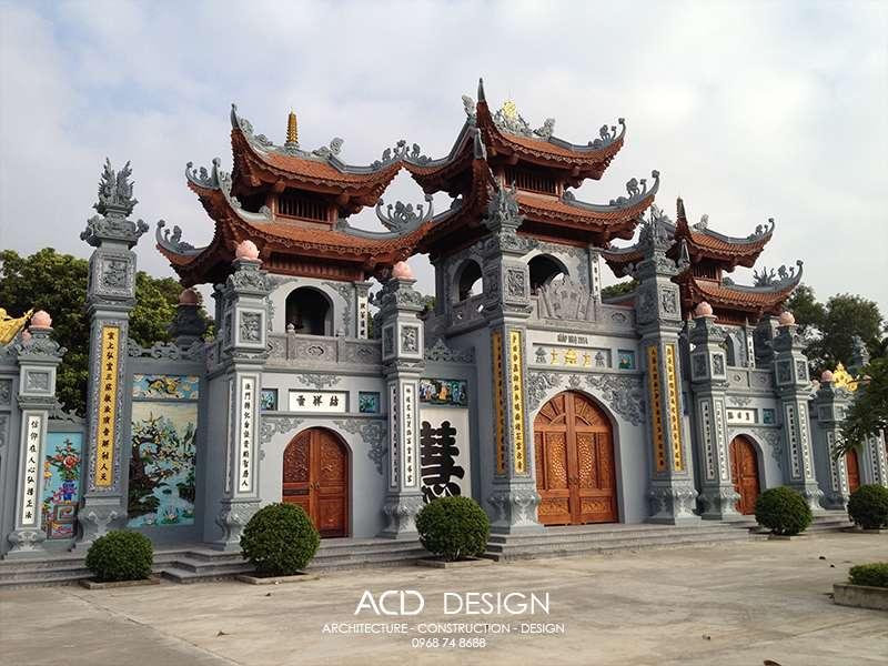 Thi công cổng tam quan chùa đẹp