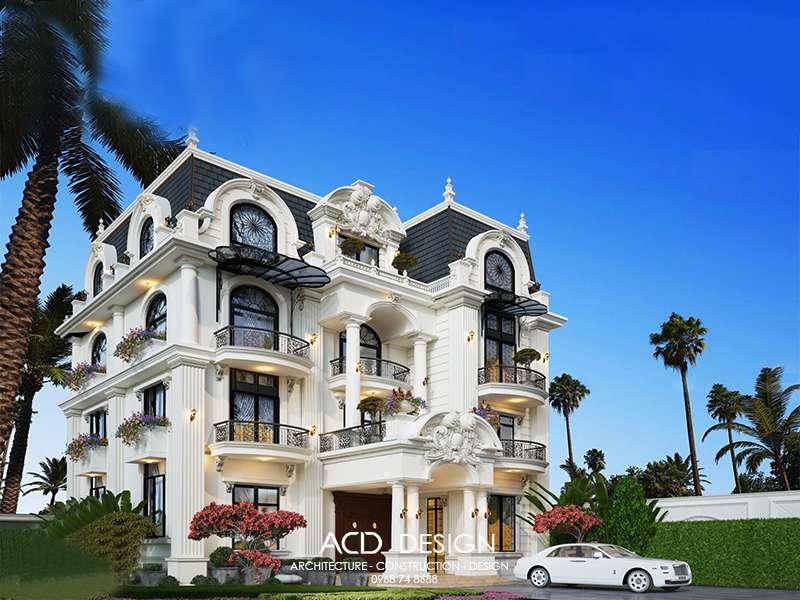 Biệt thự kiểu Pháp 3 tầng kiến trúc cổ điển đẹp
