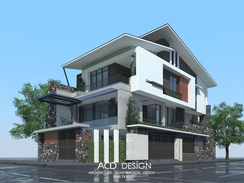 Mẫu nhà biệt thự 3 tầng mái thái kiến trúc đẹp