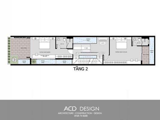 mẫu thiết kế nhà ống 4 tầng 5x15m