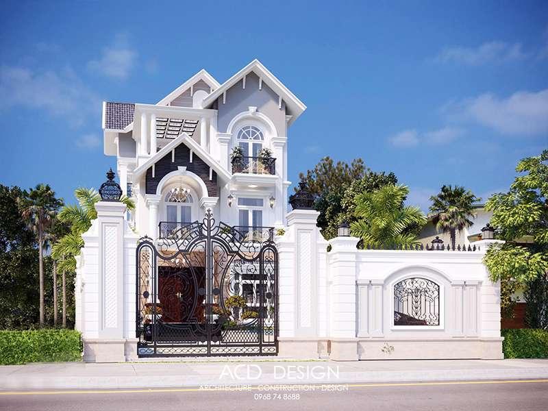 Biệt thự nhà vườn 3 tầng đẹp hiện đại kiểu mái thái